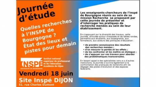 Quelles recherches à l'INSPE de Bourgogne ? État des lieux et pistes pour demain, 18 juin 2021